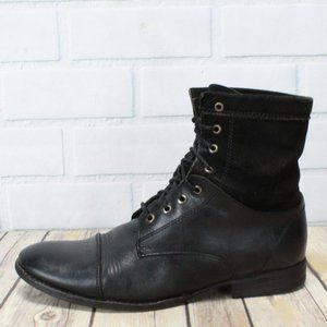 FRYE Black Leather Lace-up Ankle Flat Boots Size 7